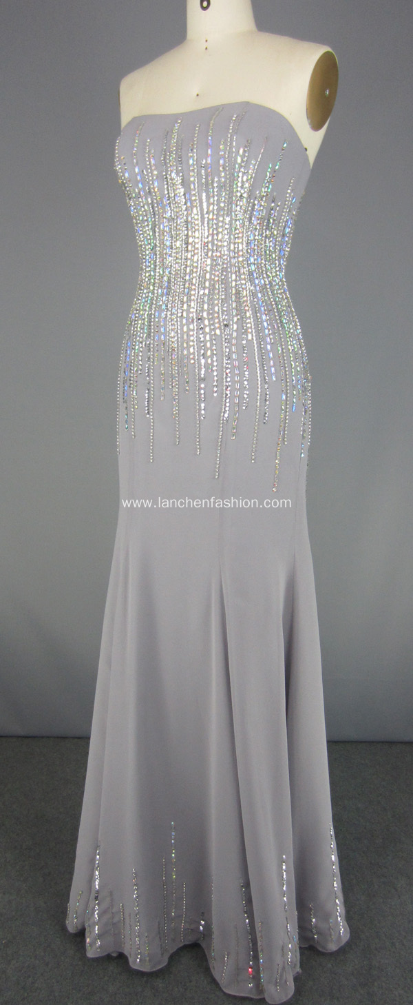 Strapless Prom Dresses Beading Formal Evening Gowns