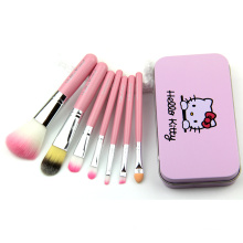 Cute Quality Hello Kitty 7PCS Beauty Makeup Brushes Set with Metal Case
