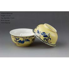 """Sowbread Flower"" Esmalte Amarillo Porcelana Bowl Shape Tea Cup"