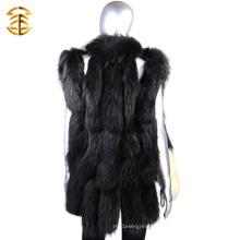 Venta al por mayor negro de lujo hecho punto piel Trim chaleco mujeres Wth Raccoon Fur Trim