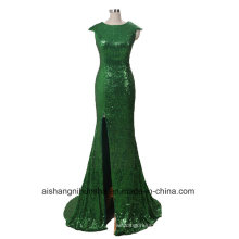 Mermaid Evening Dress with Grooved Shovel Cap Sleeve Bright Film