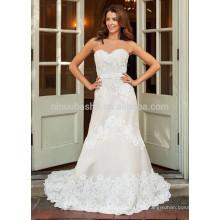NA1025 Modest A-line Sweetheart Sweep Train Appliqued Vestido de casamento de renda 2015