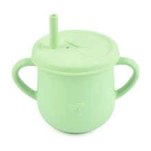 No Spill Toddlers Nontoxi Super Soft Water Oem Baby Training Handle Silicone Cup With Lid And Straw