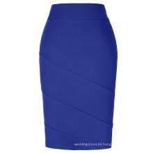 Kate Kasin Occident Women's OL High Stretchy Hips-Wrapped Blue Pencil Skirt KK000269-4