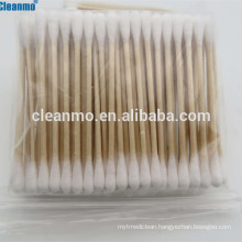 (Hot) 3''(75mm) industrial double head ended wooden stick ear cleaning cotton buds swabs