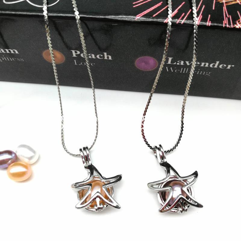 Starfish Pearl Cage Locket Pendant Necklace