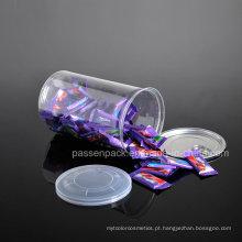 O plástico do animal de estimação Anel-Puxa o doces pode com tampa plástica (PPC-CSRN-036)