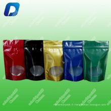 L'aluminium tiennent la poche de tirette (Doypack) pour l'emballage de café / Doypack tiennent la poche avec la tirette pour le café