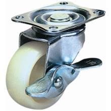 Rodízio de nylon giratório com travão lateral (branco)