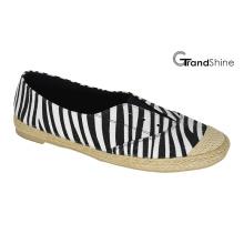 Frauen Espadrille gedruckte Leinwand flache beiläufige Schuhe