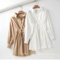 100% Cotton White Oversize Women Casual Shirt Dresses
