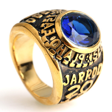 Disepuh Stainless Steel Gemstone Ring Gold silver