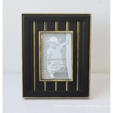 Black MDF Wooden Photo Frame with Gloden Line