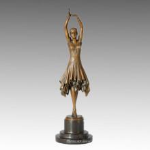 Estatua de Bailarín Pretty Girl Escultura de Bronce, DH Chiparus TPE-360