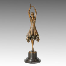 Dancer Statue Pretty Girl Bronze Sculpture, D. H. Chiparus TPE-360