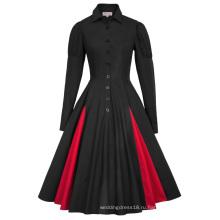 Белль некоторые из них имеют Ретро винтажный Викторианский стиль с длинным рукавом воротник рубашки Контрастность Цвет Черный качели платье BP000366-1