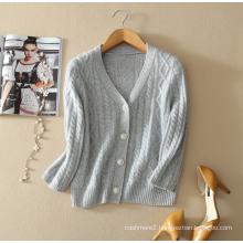 Ladies' pure cashmere sweater cardigan deep v neck cardigan coat with three quarter sleeves