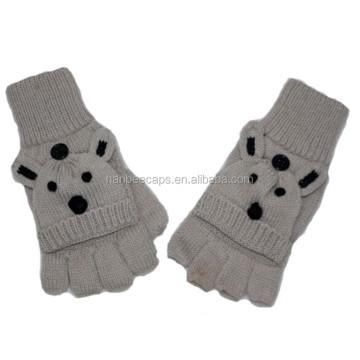 New Design Kid Gloves fashion acrylic animal fingerless Keep Warm knitted winter gloves