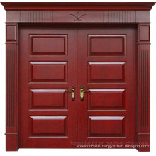 Atmospheric Luxury Double Leaves Solid Wooden Entry Door for Villa