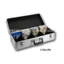 vendas por atacado da caixa de armazenamento de CD DVD do alumínio da alta qualidade CD 80 discos (10mm)