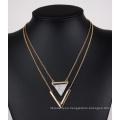 Triángulo azul turquesa V forma doble collar multicapa Clavicular