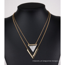 V turquesa triângulo forma dupla multicamadas Clavicular colar