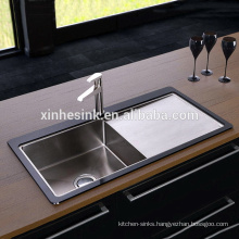 HOT Tempered Glass Stainless Steel Kitchen Sink with Single Bowl Drainer