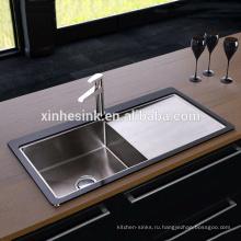 Горячая закаленное стекло из нержавеющей стали Кухонная раковина одной миски с крылом
