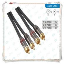 Ouro 2rca macho para macho componente de vídeo e cabo de áudio estéreo