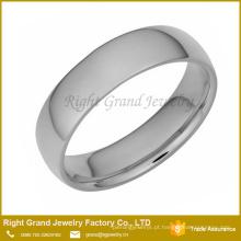 Anel de faixa de prata de aço inoxidável lustrado alto da forma para unisex