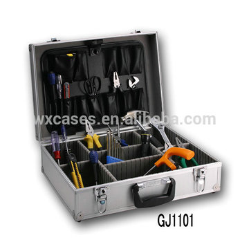 starker u. tragbarer Aluminiumwerkzeug-Kasten mit umklappbarer Werkzeugpalette u. justierbaren Abteilen nach innen