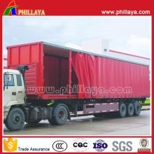 3axles PVC Tarpaulin Truck Cargo Van Box Curtainside Semi Trailer