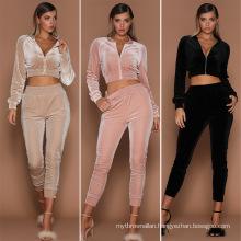 C7188 Fashion Women Wholesale Hoodies Outfits Women Solid Colors 2 Piece Top Crop Velvet Tracksuit Clothing Workout Sets