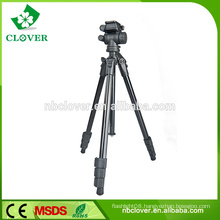 Professional colourful camera and lightweight tripod monopod