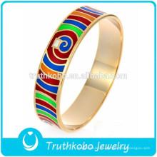 Or Rose Plaqué Bracelet D'émail Brillant Lumineux Couleur Interphase En Gros Élégant Émail Femmes Coloré Bracelet