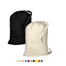 Eco Friendly Professional Hotel Canvas Storage Portable Drawstring Laundry Bag With Custom Hotel Logo