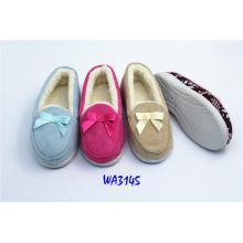 Moda Bowknot ante invierno polar mocasín zapatos mujeres