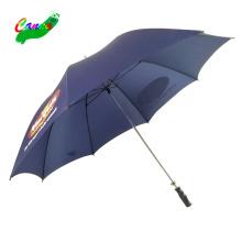Wasserabweisendes Nylongewebe, marineblaue Logo-Golfschirme, Nylongewebe Eisenrohr Hand offen