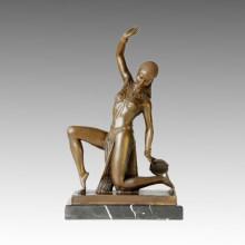 Dancer Statue Kneeling Lady Bronze Sculpture, D. H. Chiparus TPE-399
