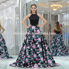 Customized charming women party wear evening dress sexy backless black floral printed satin muslim evening dress for ladies