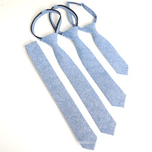 Laço azul das crianças do Zipper do algodão de Chambray da forma