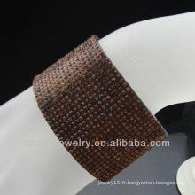 Vente en gros de bracelet en strass marron avec boucle aimant