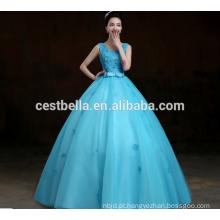 2017 vestido azul vestido vestido de casamento comprimento atado decoração de diamantes vestido de noiva estilo novo atacado