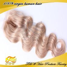 Необработанные натуральный черный пробор объемная волна швейцарский кружева закрытие Богородицы перуанский человеческих волос кружева закрытия