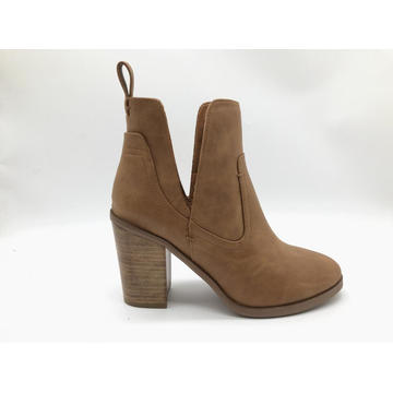 Ladies Cut Out Ankle Boot mit bedrucktem Absatz