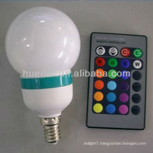 Manufacturer offer with CE RoHS E27 3W indoor use remote control rgb bulb lamp
