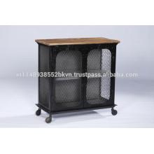 Gabinete industrial de metal y madera de 2 puertas con ruedas