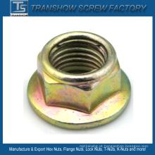 Porca de bloqueio de flange hexagonal de inserção de metal