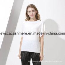 Frauen Weiß 100% Pure Cashmere Strickwaren mit Cap Sleeves