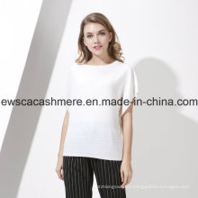 Women′s White 100% Pure Cashmere Knitwear with Cap Sleeves